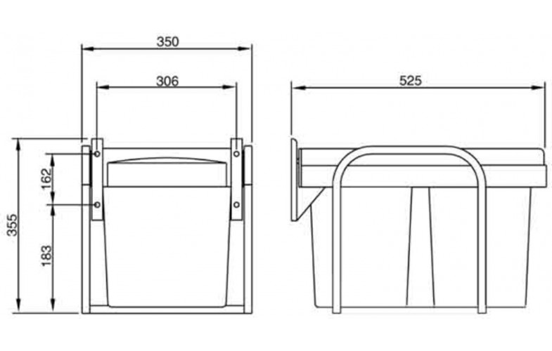 Kimberley 30 Litre Twin Pullout Bin Waste Separation System Metal Frame